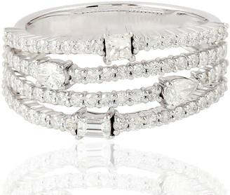 Artisan 18K White Gold Four Layer Band Ring Diamond Jewelry