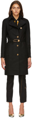 Versace Black Belted Safety Pin Coat