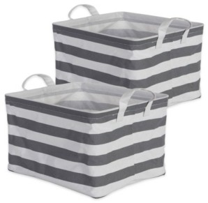 Design Imports Polyethylene Coated Cotton Polyester Laundry Bin Stripe Rectangle Medium Set of 2