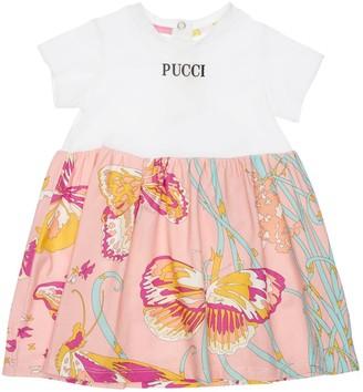Emilio Pucci Logo Print Cotton Jersey Dress