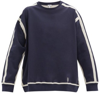 Loewe Contrast-seams Logo-embroidered Cotton Sweatshirt - Navy