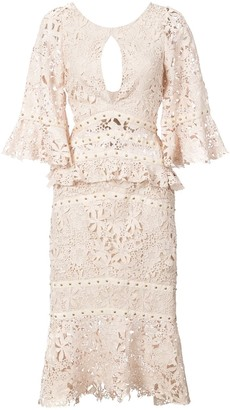 Nicole Miller Flutter Sleeve Embroidered Dress