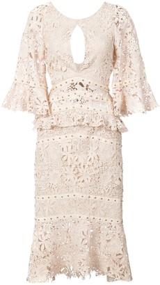 Nicole Miller flutter sleeve embroidered dress