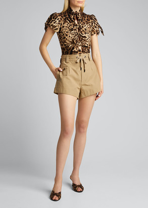 Dolce & Gabbana Short-Sleeve Tie-Front Leopard Charmeuse Top