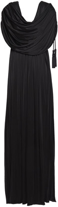 Lanvin Draped Tassel-trimmed Satin-jersey Gown