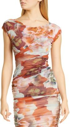 Fuzzi Crisscross Floral Print Mesh Top