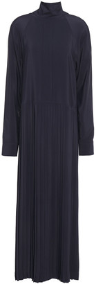 Cédric Charlier Pleated Crepe De Chine Midi Dress