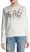 Love + Flower Embroidered Fleece Sweater