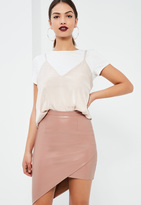 Missguided Pink Asymmetric Faux Leather Midi Skirt