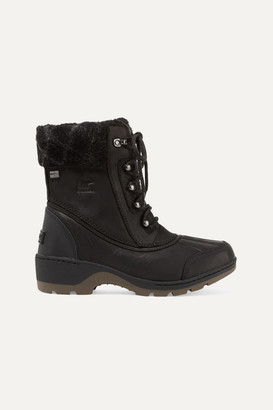 Sorel Whistler Wool-trimmed Waterproof Leather Ankle Boots - Black