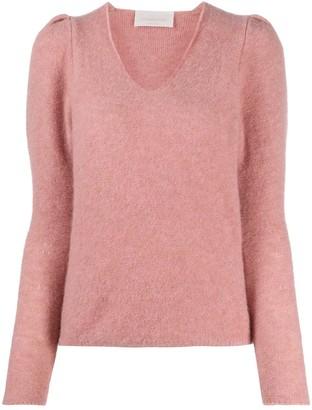 Chiara Bertani puff-sleeve V-neck jumper