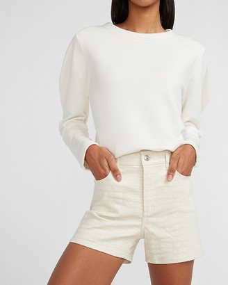 Express High Waisted Croc Textured Shorts