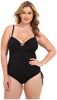 MICHAEL Michael Kors Logo Solids Shirred Maillot One-Piece Plus