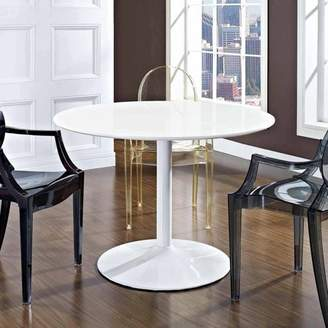 Modway Revolve Round Wood Dining Table with Aluminum Base in White