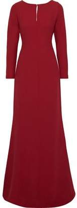 Max Mara Cutout Draped Georgette And Silk-crepe Gown