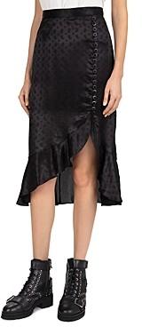 The Kooples Delicate Paisley Asymmetric Midi Skirt