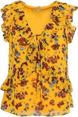 Rebecca Minkoff Ruffled Floral-print Crepe Top