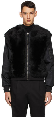 Mr & Mrs Italy Black Nick Wooster Edition Lamb Fur Bomber Jacket