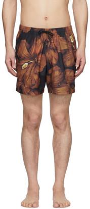 Dries Van Noten Black and Orange Floral Swim Shorts