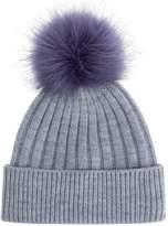 Accessorize Contrast Faux Fur Pom Beanie Hat
