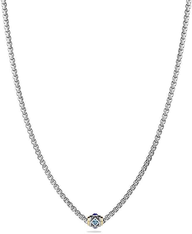 David Yurman Renaissance Necklace with Blue Topaz, Lapiz Lazuli and 18K Gold