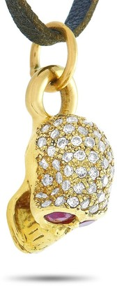 Overstock King Baby Yellow Gold and Leather Diamond and Ruby Skull Pendant Necklace Length N/A