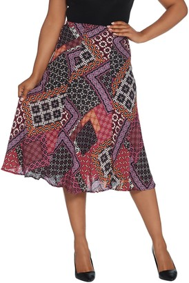 Bob Mackie Patchwork Print Pull-On Woven Skirt