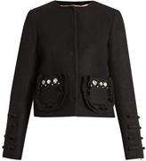No.21 NO. 21 Embellished-pocket wool-blend jacket