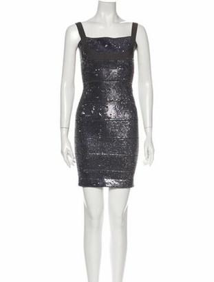 Herve Leger Square Neckline Mini Dress Grey