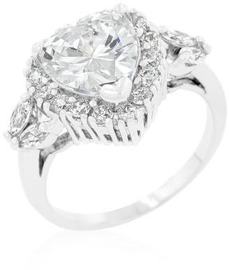 Kate Bissett Heart Halo Engagement Ring - White