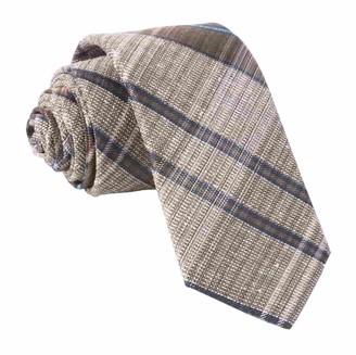 Tie Bar Misty Plaid Brown Tie