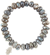 Sydney Evan Jewelry 10mm Mystic Labradorite Beaded Bracelet with 14k White Gold/Diamond Small Hamsa Charm (Made to Order)