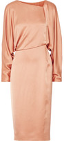 Tom Ford Draped Cutout Silk-satin Midi Dress - Sand