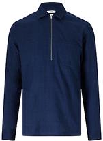 J. Lindeberg Daniel Half Zip Cotton Shirt, Indigo Melange