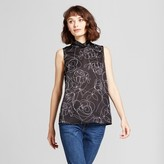 Mossimo Women's Printed Mock Neck Tank Top Black/White