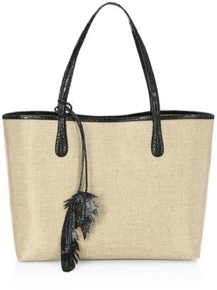 Nancy Gonzalez Medium Erica Linen & Crocodile Tote