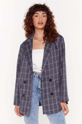 Nasty Gal Womens It's Been One Check of a Day Oversized Blazer - Grey - 4, Grey