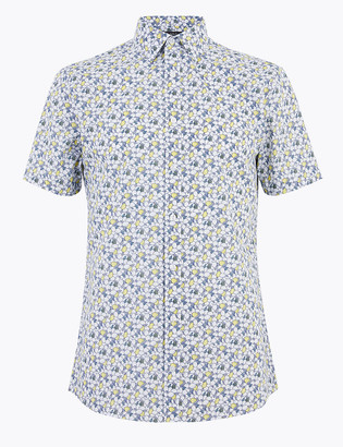 Marks and Spencer Slim Fit Lemon Print Shirt