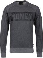 Money Dark Grey Marl Punched Out Crew Neck Sweatshirt