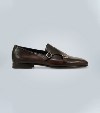 Santoni Monk-strap leather loafers