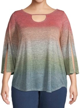 John Paul Richard Plus Size Ombre Keyhole Top