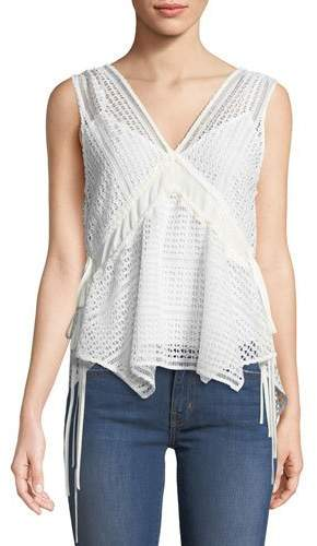 Derek Lam 10 Crosby Sleeveless V-Neck Lace-Guipure Top w/ Ties