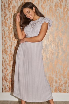 Little Mistress Tyler Grey Lace Pleated Midaxi Dress
