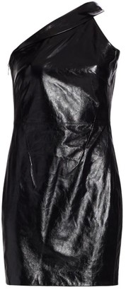 RtA Aurora One-Shoulder Leather Mini Dress
