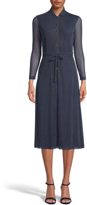 Anne Klein Dot Print Long Sleeve Shirtdress