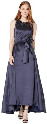 Tahari ASL Solid Mikado Ball Gown with Embellished Neckline and Side Tie Self Sash (Navy) Women's Clothing