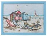 Leonardo MacNeil Sandy Bay Design Lap Tray - Beach scene including deckchairs/lighthouse/boat/beach huts