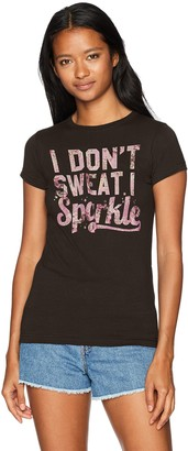 Chin Up Chin-Up Women's Don't Sweat Sparkle Flower Crew Neck Graphic T-Shirt