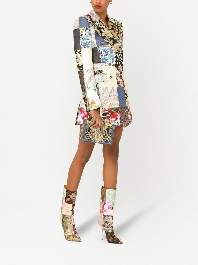 Thumbnail for your product : Dolce & Gabbana Patchwork-Print Blazer Dress