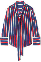 Alice + Olivia Alice Olivia - Arie Pussy-bow Striped Silk Blouse - Blue